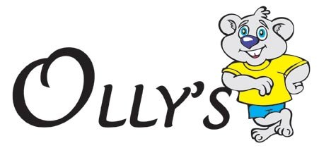 bespoke cartoon logo for Olly's Kitchens - cartoon bear leaning on text that says Olly's Kitchens