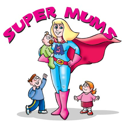 Super Mum with children cartoon