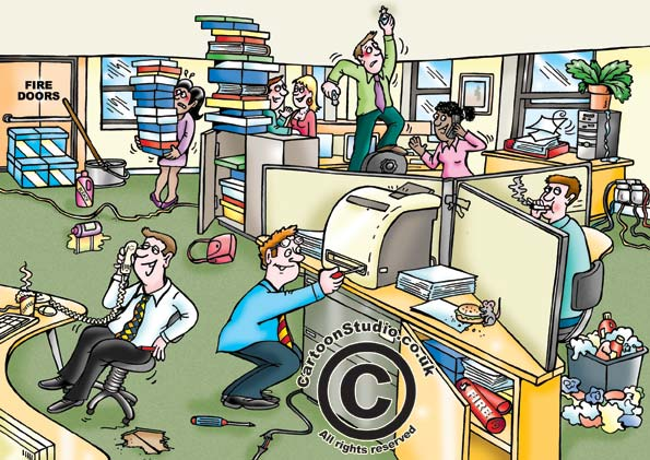 office hazards cartoon, showing typical safety hazards to avoid doing, safety cartoon, health and safety office cartoon