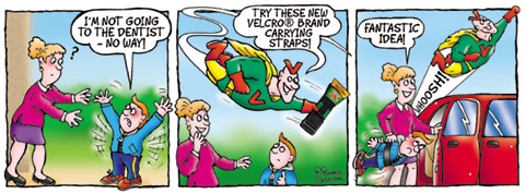 cartoon strip for Velcoman - he zooms in to save the day using a Velcro strap to tie kid down