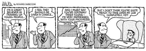 MD cartoon strip. Comic strip of boss looking at upwardly rising profits chart.