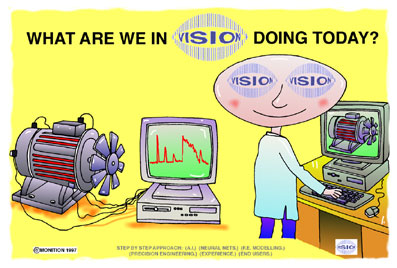 Cartoon of motor connected to a computer. 'Vision' cartoon character stood at computer which has the same motor on the screen