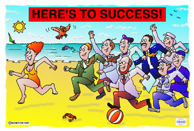 Cartoon titled 'Here's To Success!' Beach scene of sexy woman running along with a bunch of work colleagues chasing her. Beach ball, seagull.