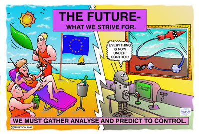 Cartoon for slide presentation. Boxed title 'The Future - What we strive for!' Cartoon of lady relaxing and being wafted and waited on by two hunks. Split scene cartoon of robot doing all the work.