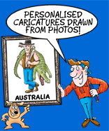 Rod and scraggy hold up a caricature of an aussie hunter wearing a hat wih the obligatory corks holding a crocodile over his shoulder which portrays with the words saying that the cartoon studio provides caricaturs form photos which we shall refer to as studio caricatures