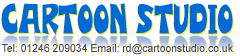 Cartoon Studio Logo in blue with yellow shadow with Tel no 01246 209034 and email rd@cartoonstudio.co.uk
