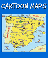 This plate  shows a cartoon map focused around Spain in Europe which used to be called Tarshish once upon a time